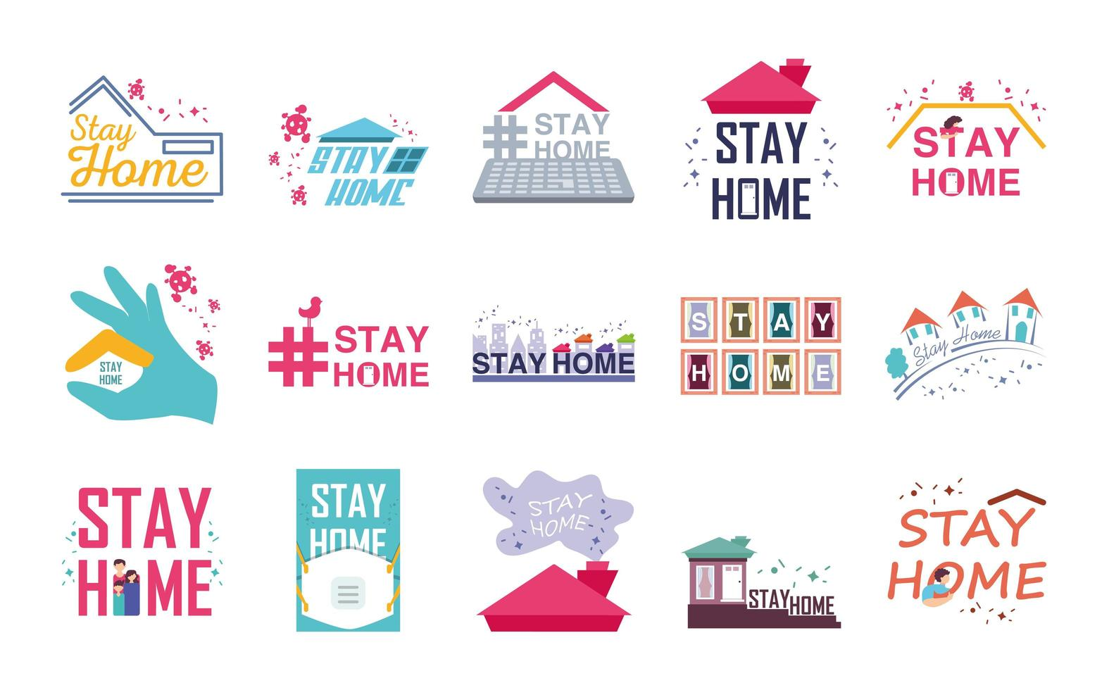 Set of icons Stay at Home vector