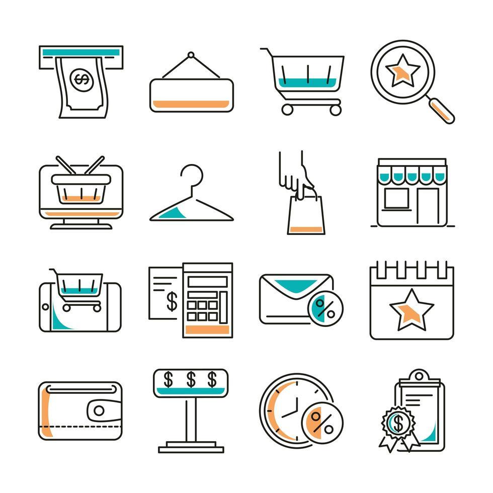 paquete de iconos de comercio de ropa de compras y moda vector