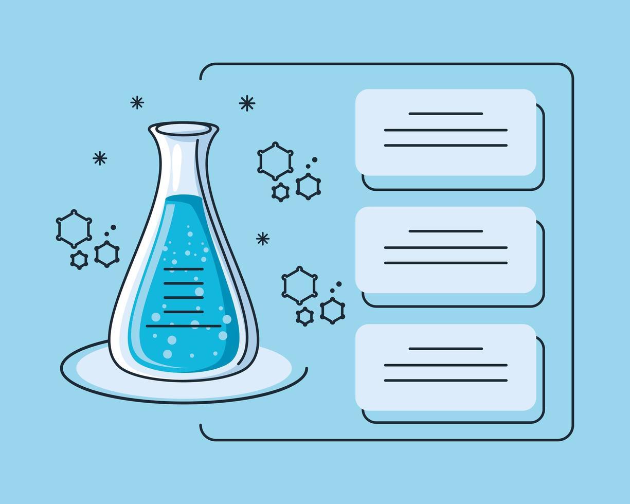 infografía con laboratorio químico de tubos e investigación de coronavirus. vector