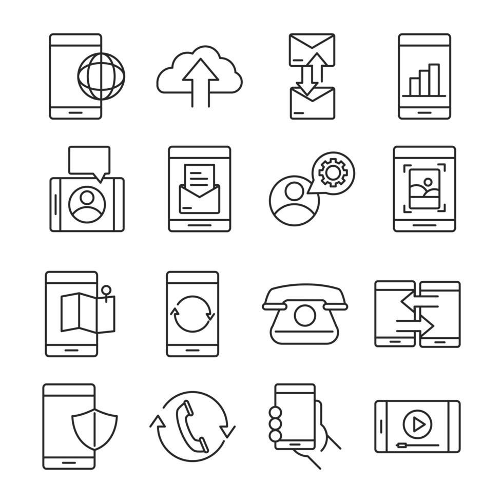 dispositivos en línea y paquete de iconos de estilo de línea de comunicación vector