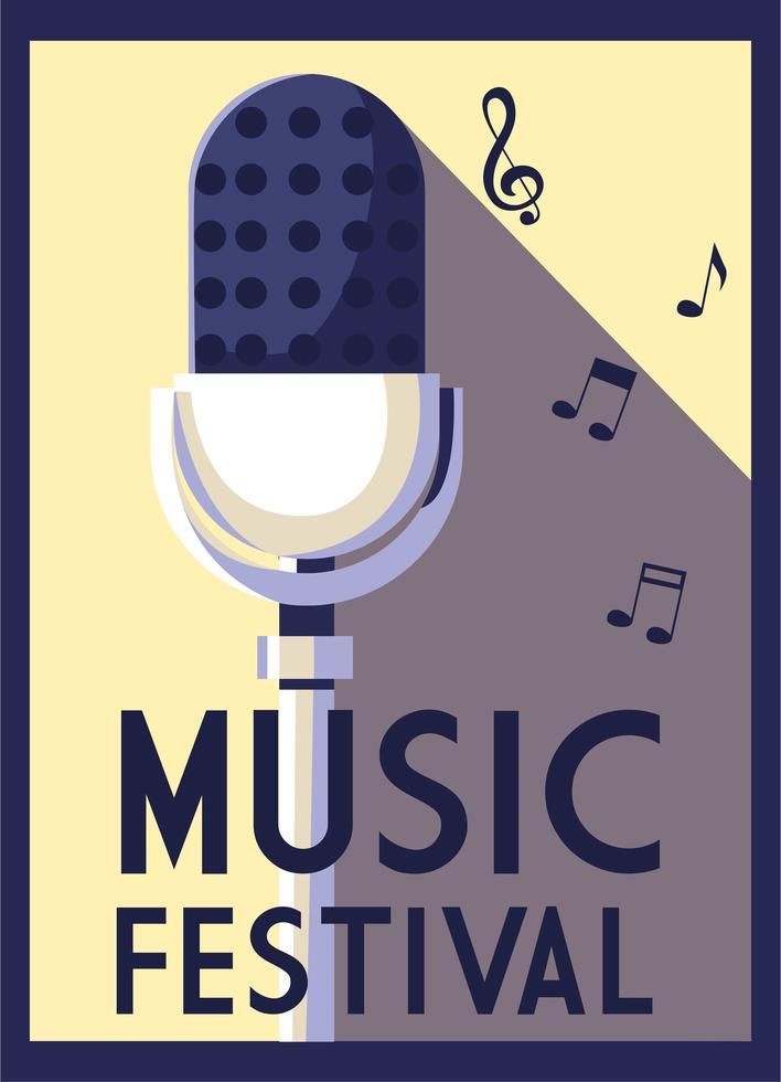 cartel del festival de música con micrófono y notas musicales. vector