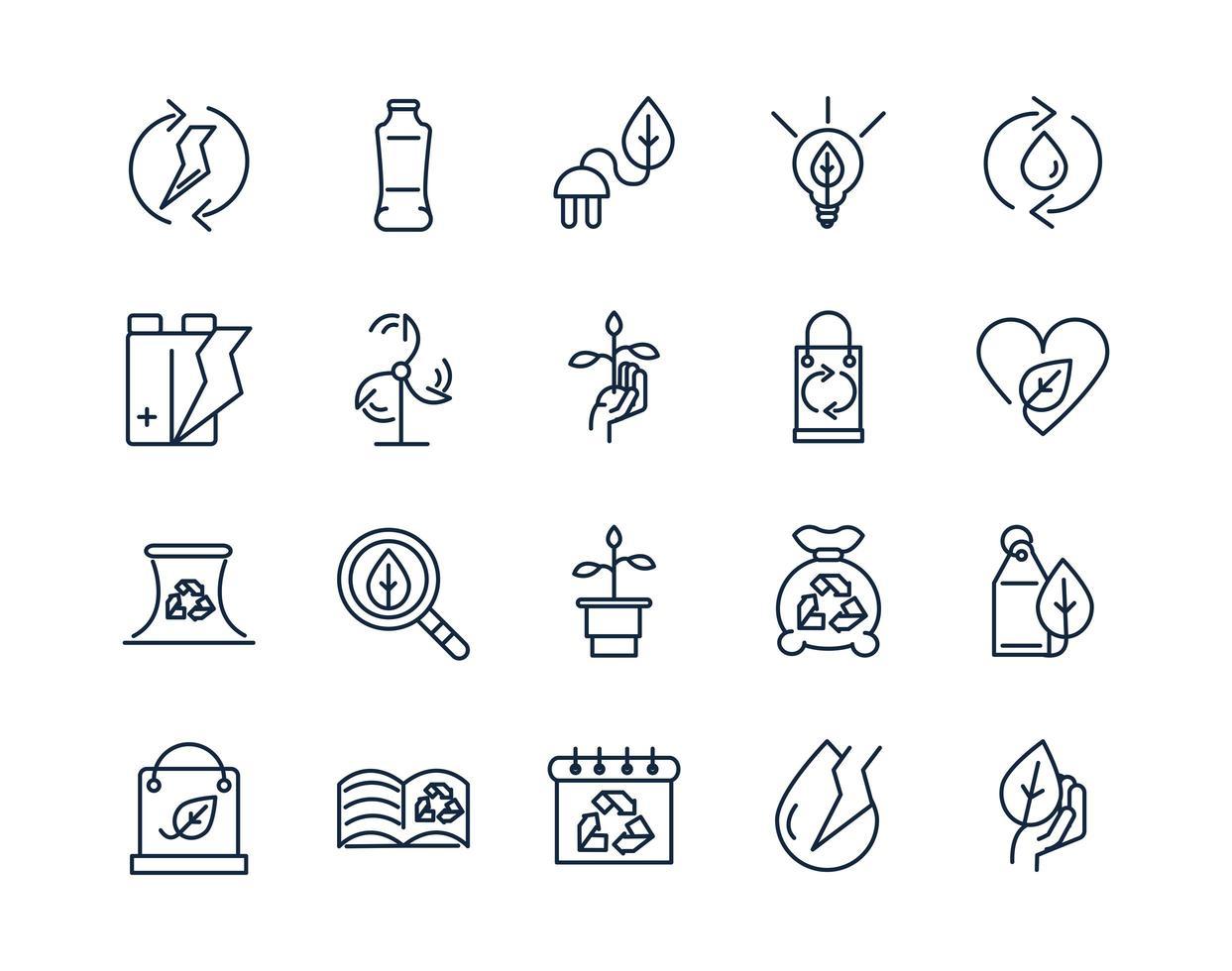 ecología y medio ambiente conjunto de iconos de arte lineal vector