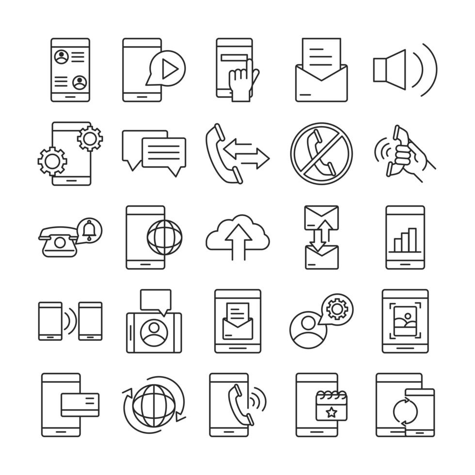 dispositivos en línea y colección de iconos de estilo de línea de comunicación vector