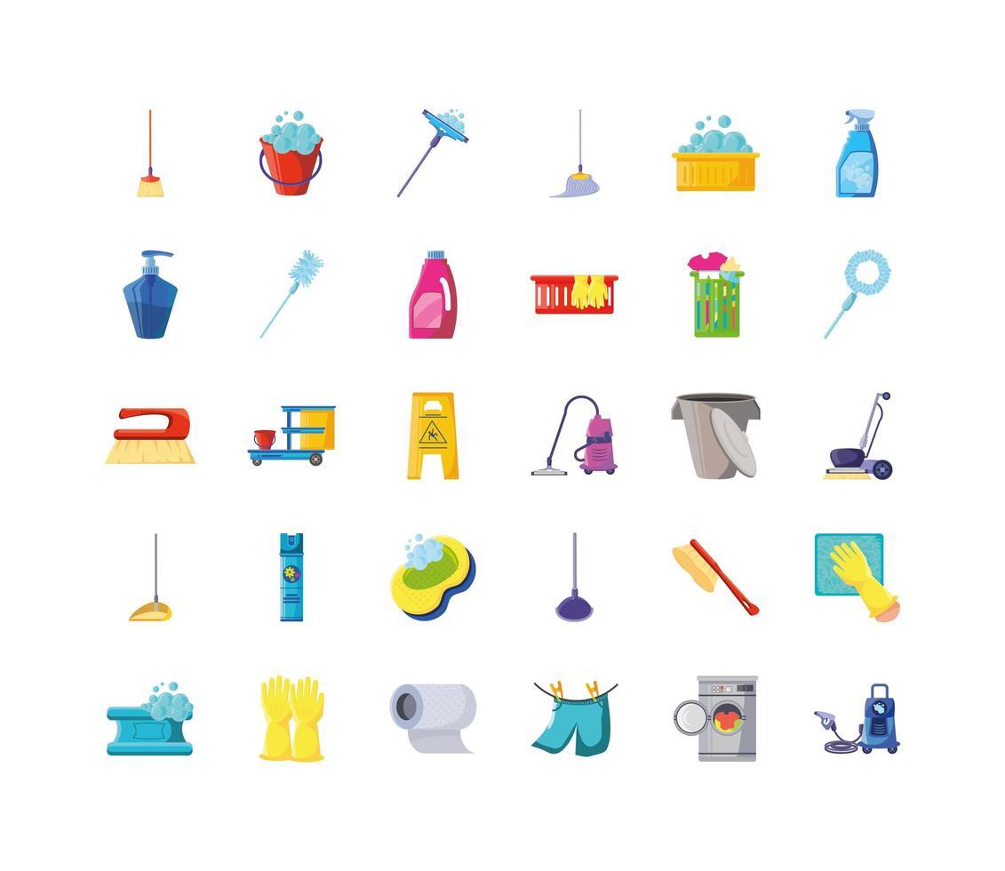 conjunto de iconos de limpieza y limpieza vector