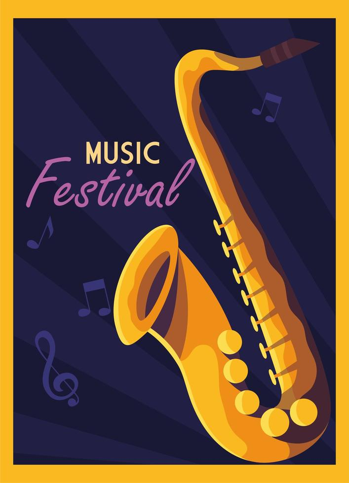 cartel del festival de música con saxofón vector