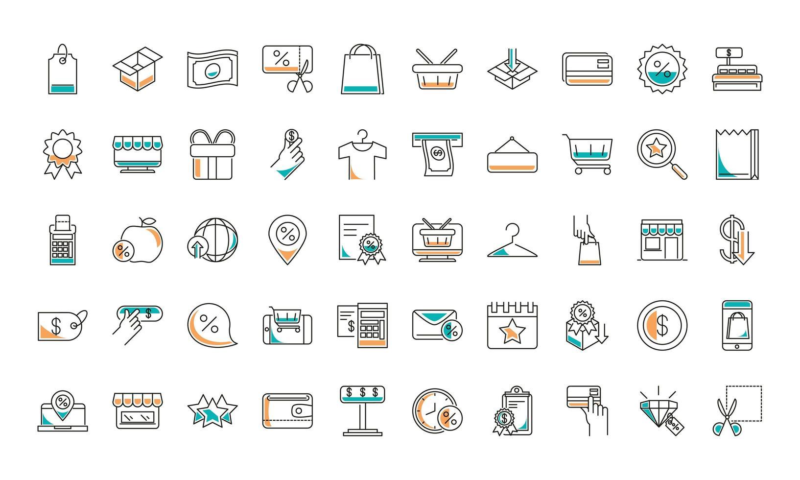 colección de iconos de comercio de ropa de compras y moda vector