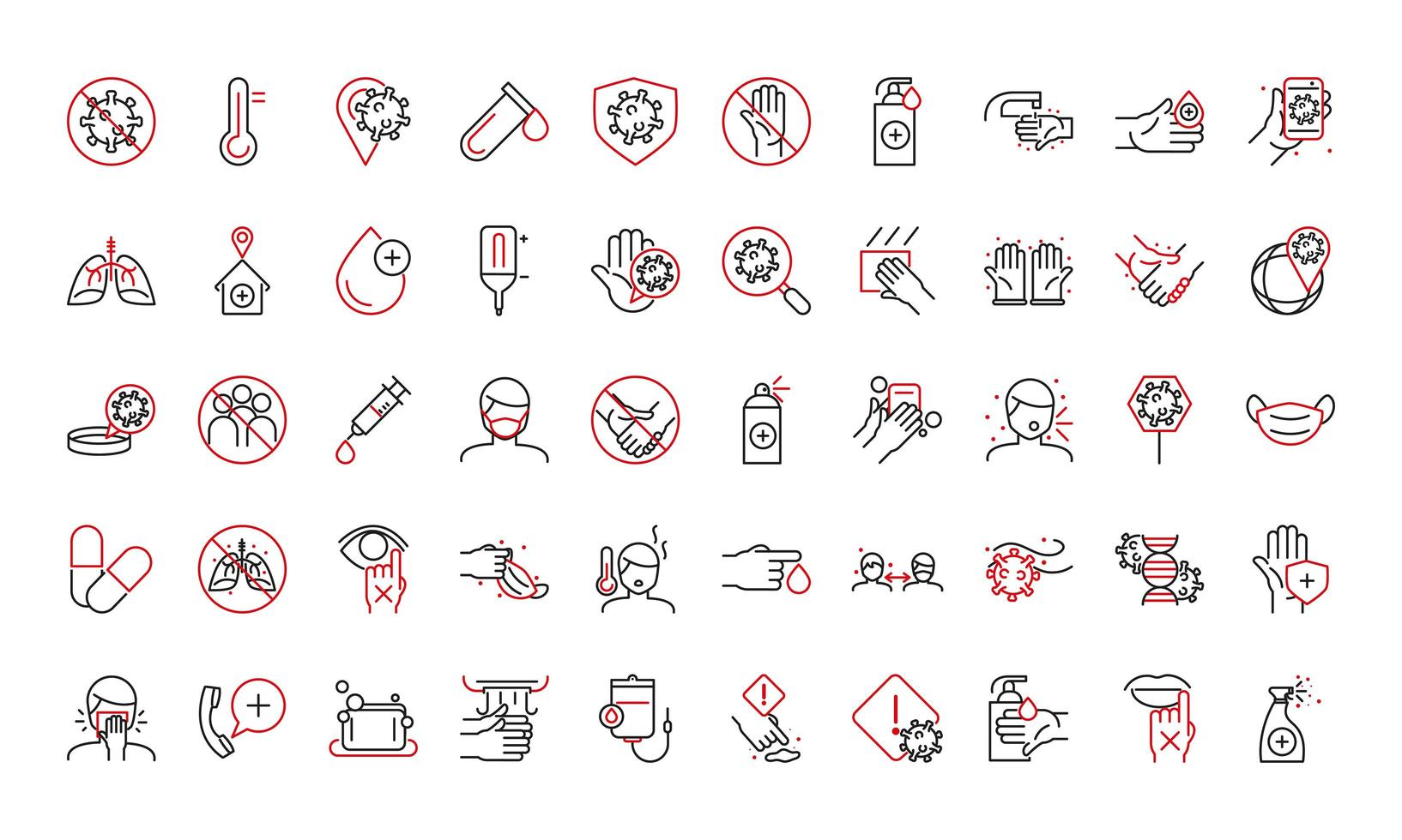 Health care instructions for covid-19 bi-color icon set  vector