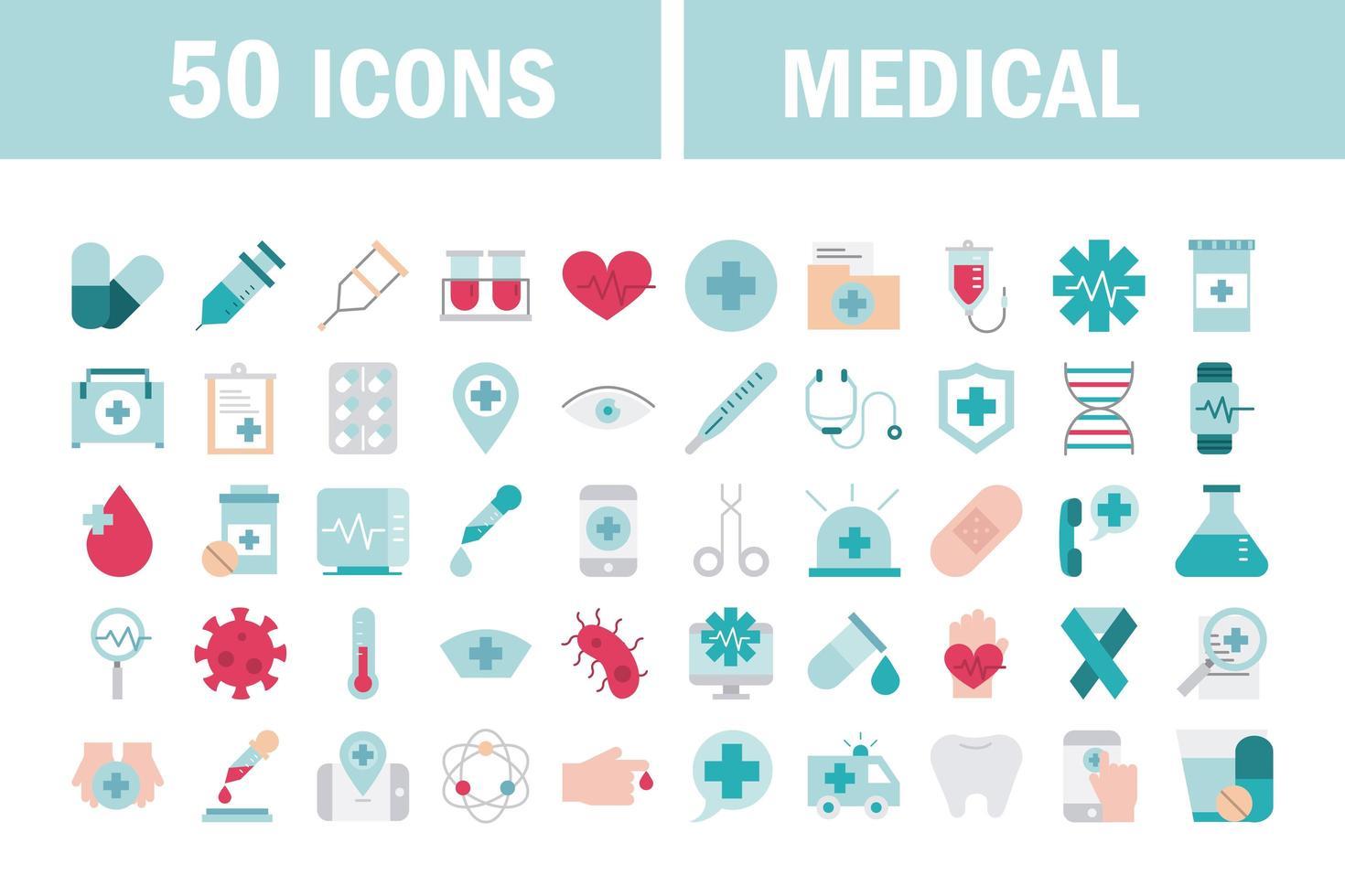conjunto de iconos de atención médica y sanitaria vector