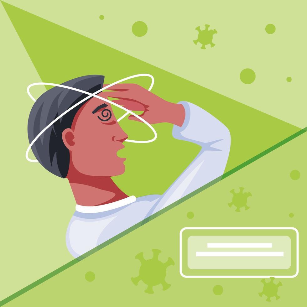 Sick man with coronavirus suffering from symptoms vector