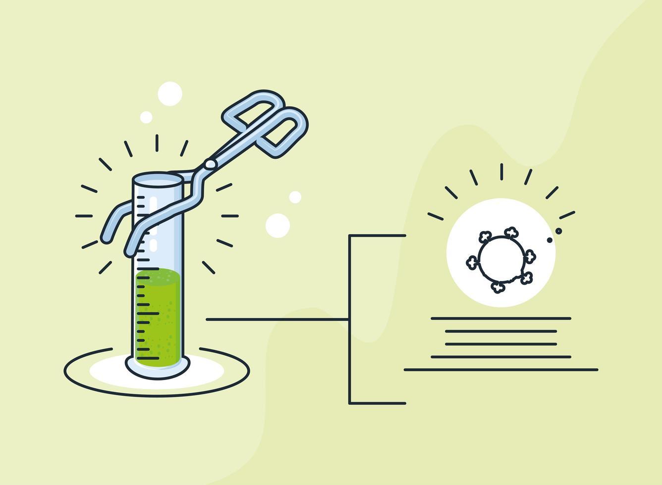 infografía con tubo de ensayo de laboratorio químico vector
