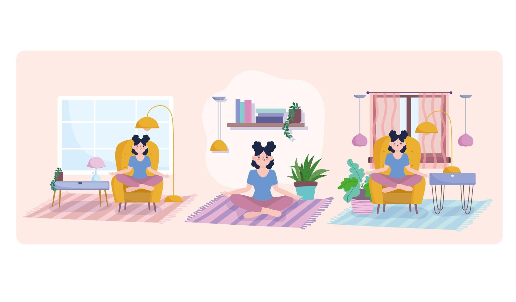 Woman meditating in different rooms set vector