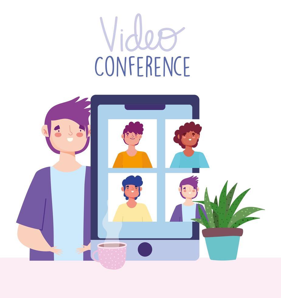 videoconferencia y reunión virtual a través de la plantilla de banner de teléfono inteligente vector