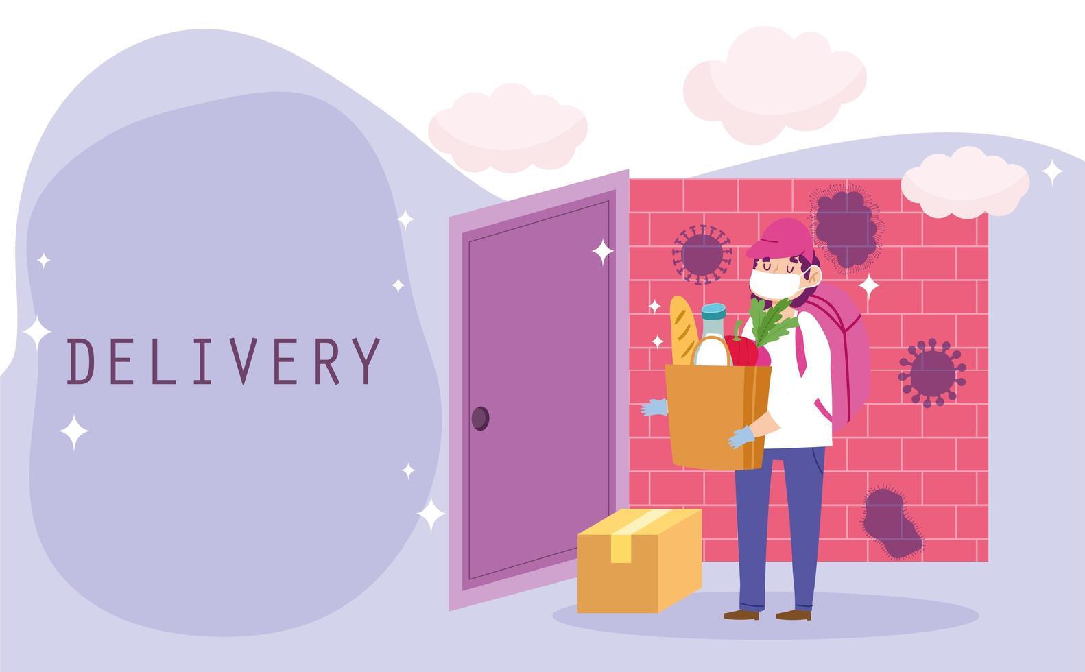 Trabajador de mensajería entregando una bolsa de comestibles y un paquete en casa vector