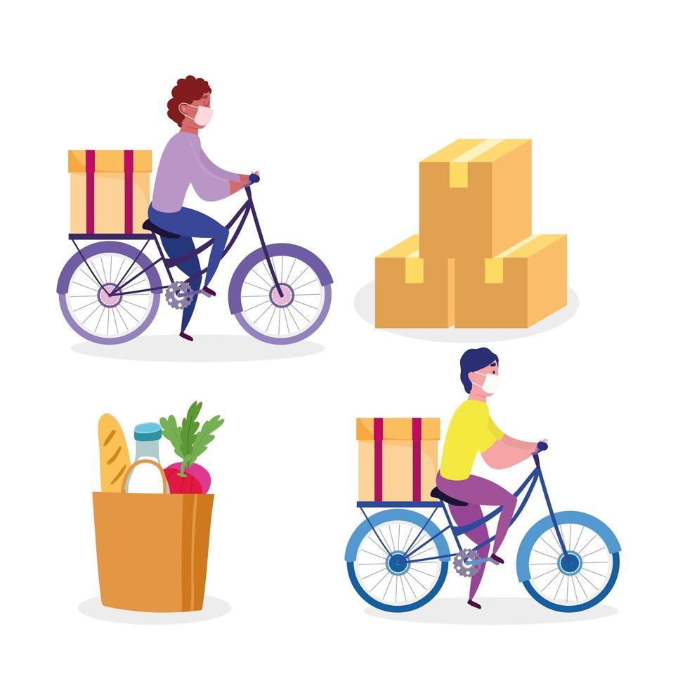 Conjunto de trabajadores de mensajería en bicicleta con paquetes y una bolsa de iconos de comestibles vector