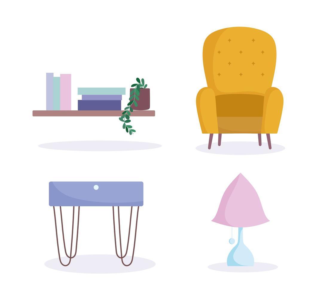 colección de iconos de muebles para el hogar, decoración y diseño de interiores vector