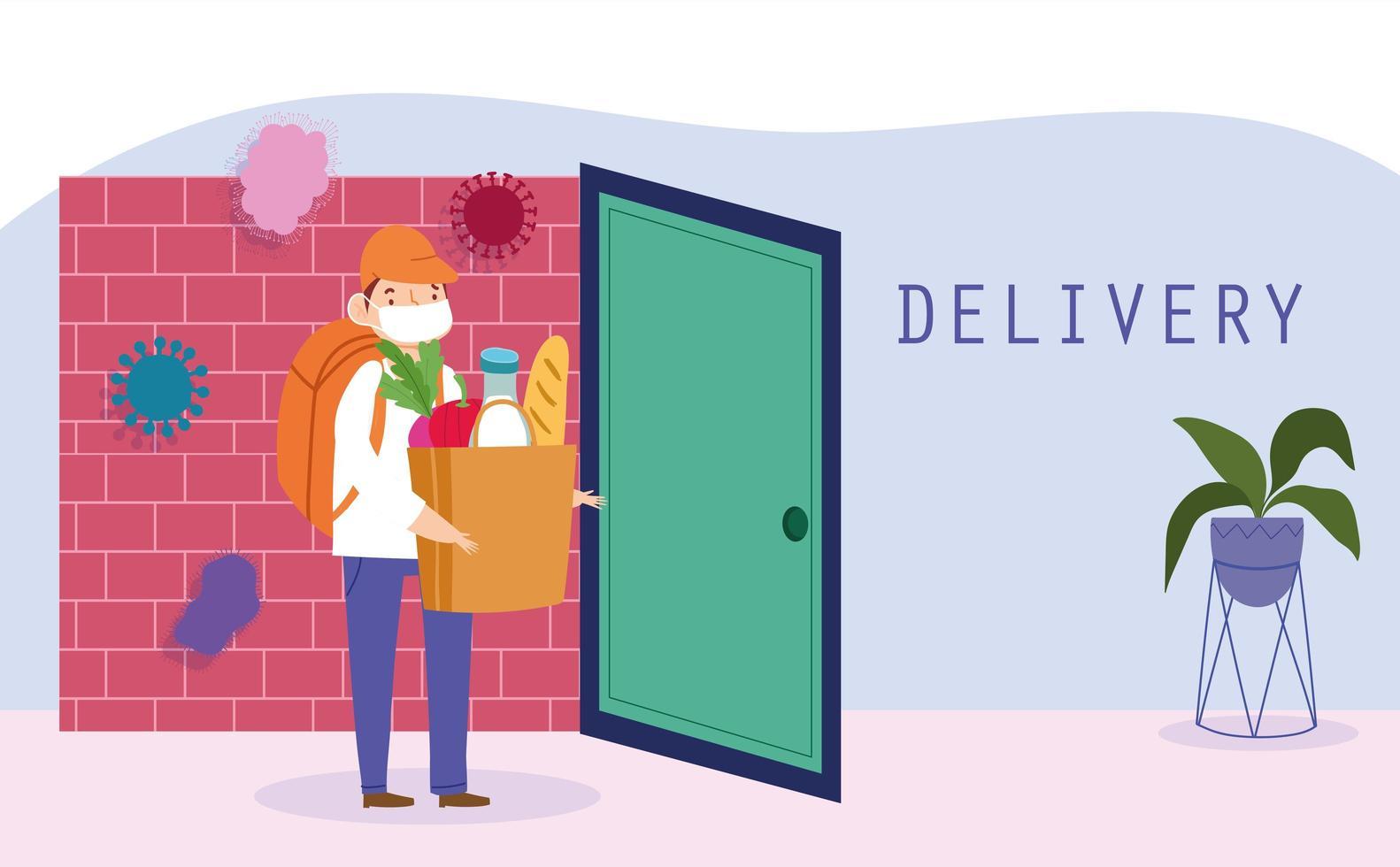 Courier man de forma segura entregando comestibles en la puerta vector
