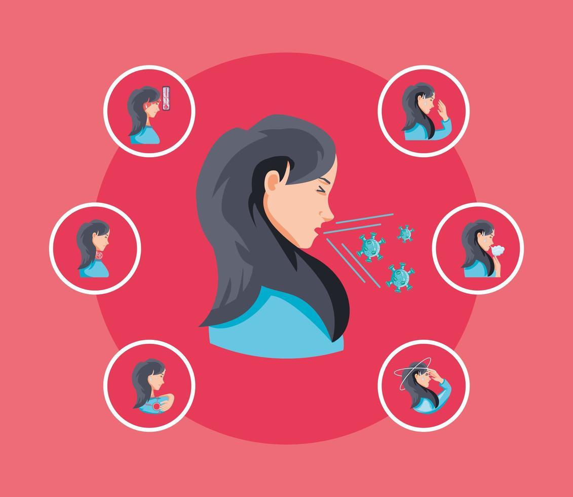 mujer infectada de coronavirus sufre síntomas vector
