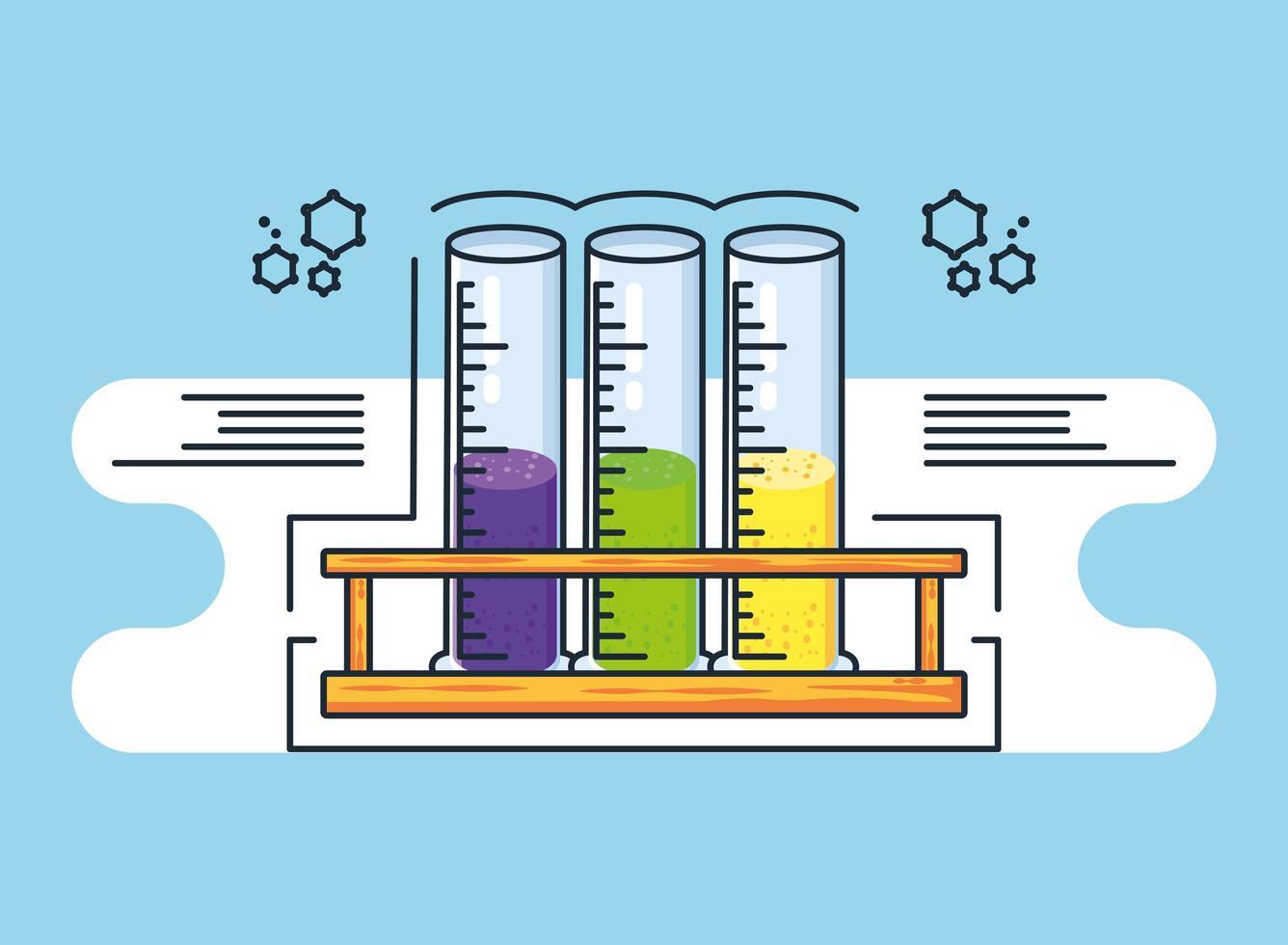 infografía con tubos de ensayo de laboratorio químico. vector