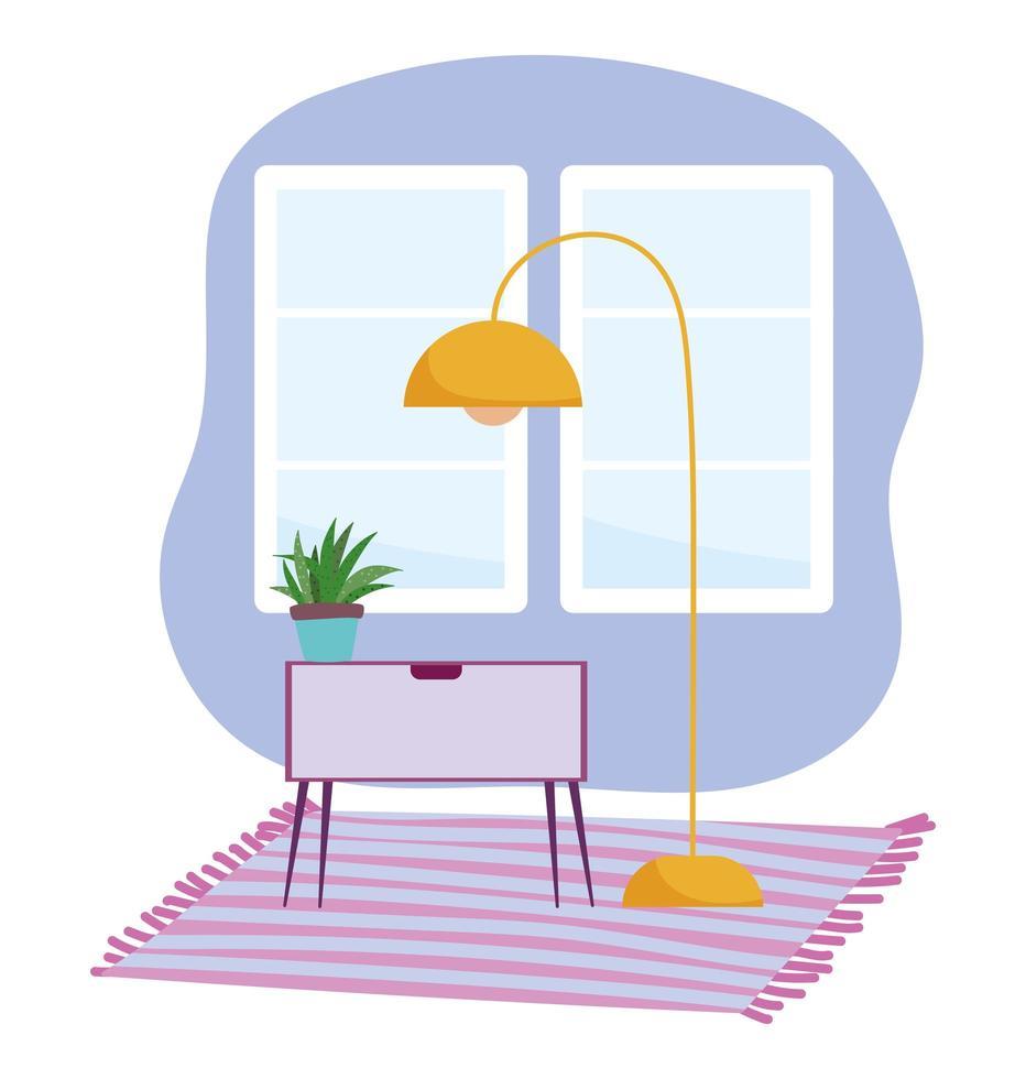 habitación moderna e interiorismo con muebles vector