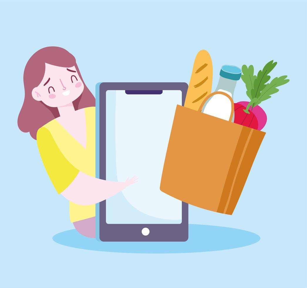 Mujer ordenando comestibles a través de un teléfono inteligente vector