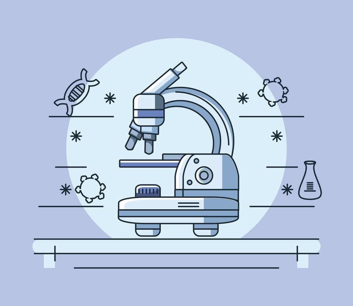 Laboratory microscope and coronavirus research vector