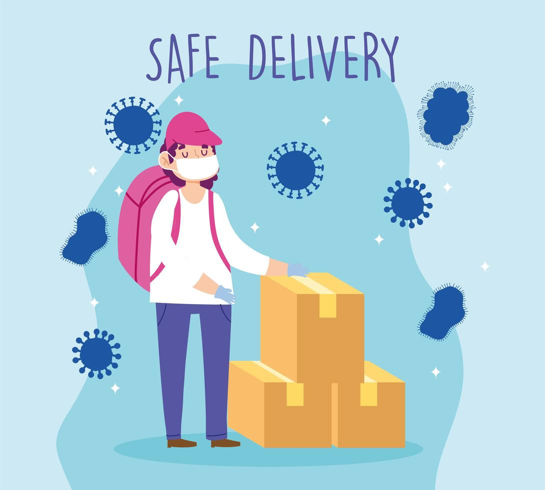 Courier person safely delivering packages vector