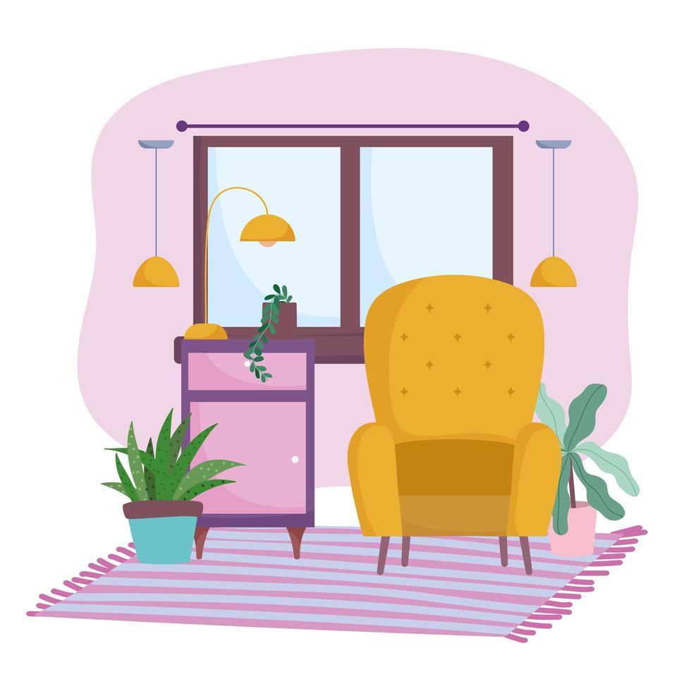 linda habitación y diseño de interiores con muebles vector