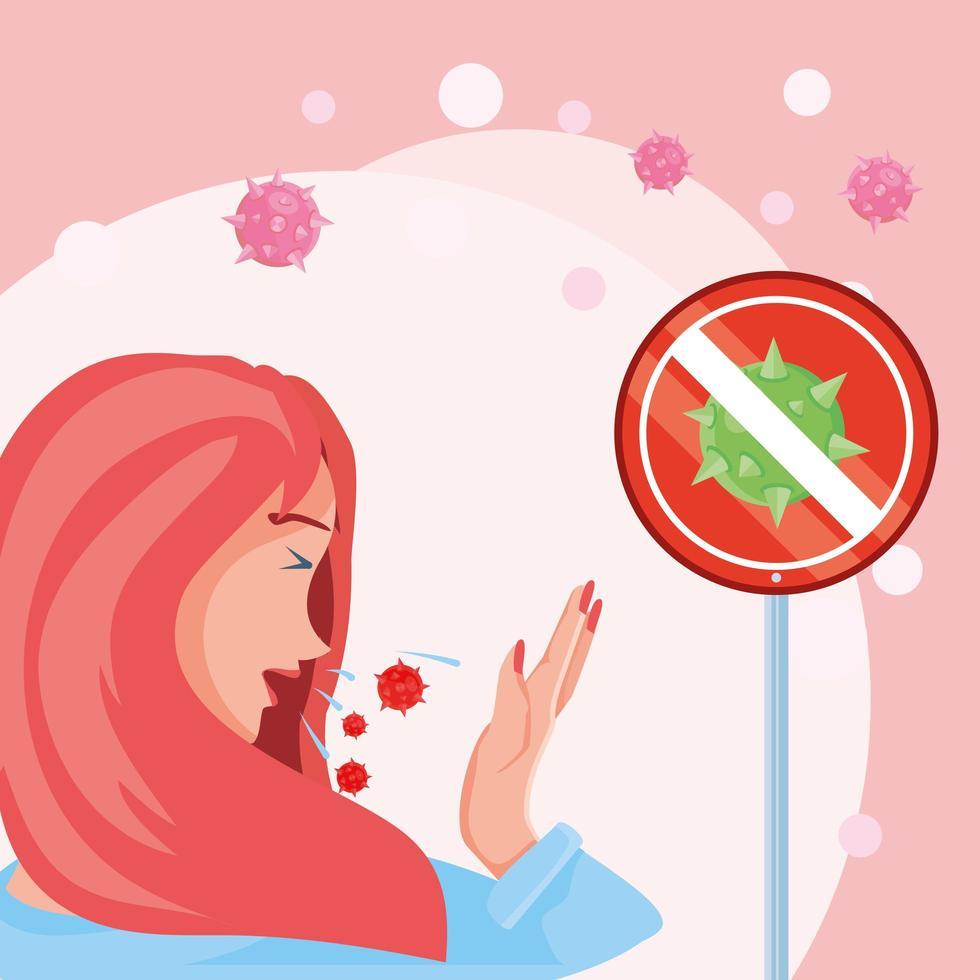 mujer joven enferma de coronavirus sufre síntomas vector