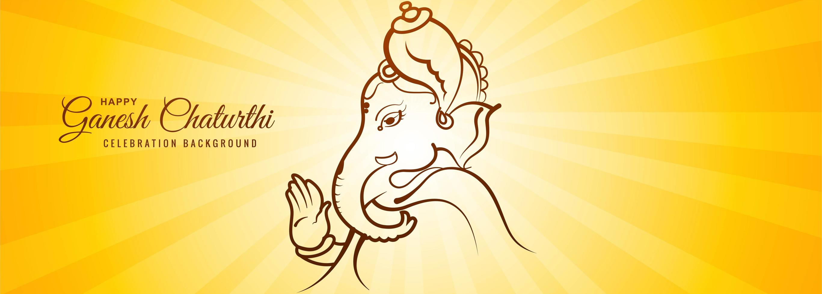 Lord Ganesha Light Ray for Ganesh Chaturthi Card Banner vector