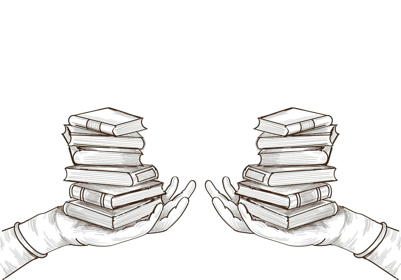 Hand Drawn Education Book Stacks Sketch vector