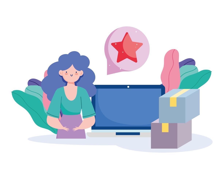 mujer con computadora ordenando paquetes en línea vector