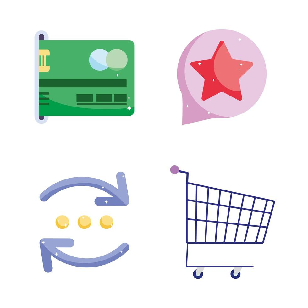 E-commerce and online banking icon set vector