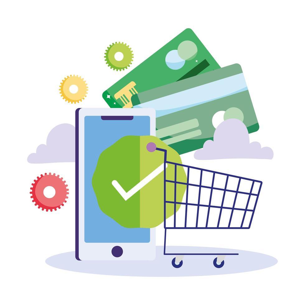 pago en línea y comercio electrónico a través de la aplicación móvil vector