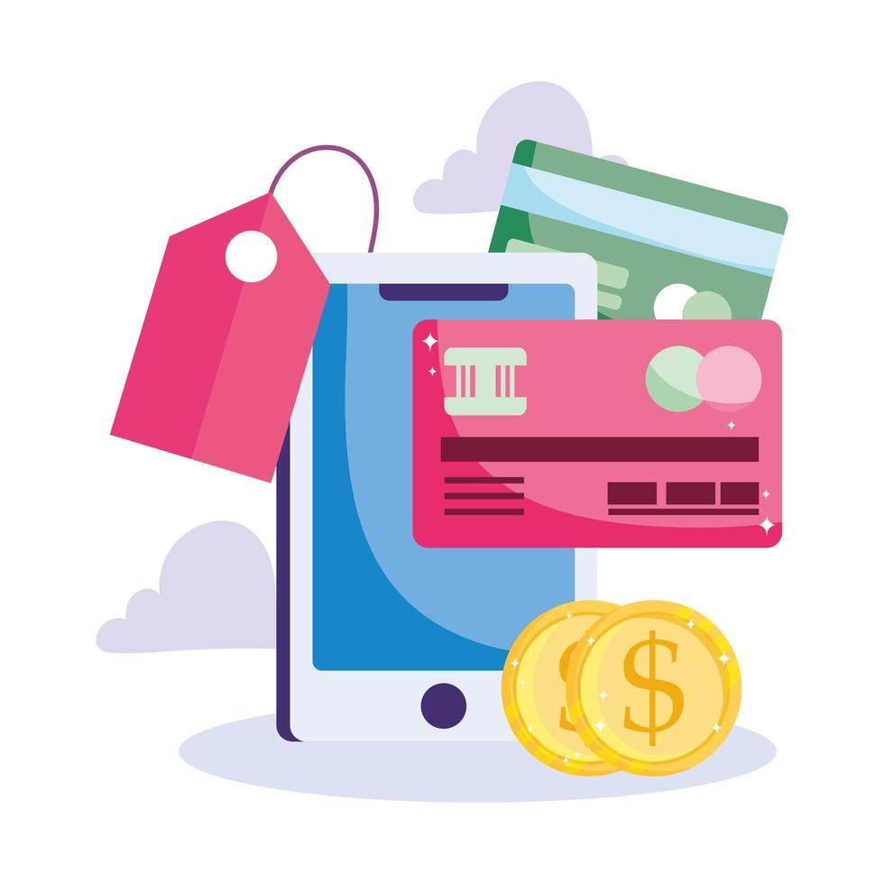pagamento online e comércio eletrônico via smartphone vetor