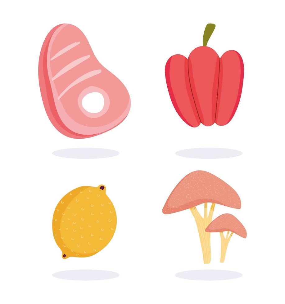 conjunto de ícones de carnes, frutas e vegetais vetor