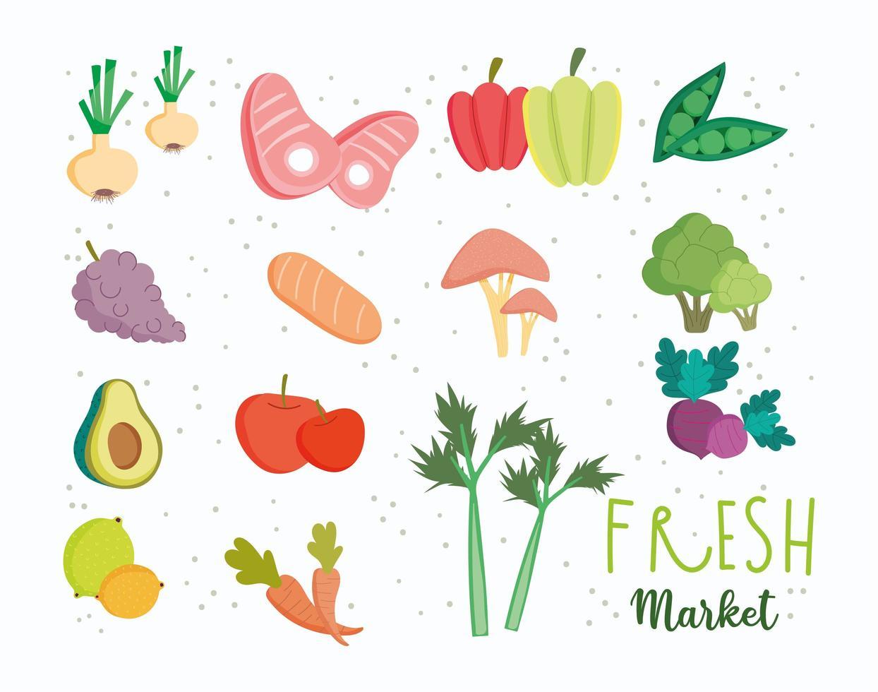 Conjunto de frutas y verduras de alimentos frescos saludables vector