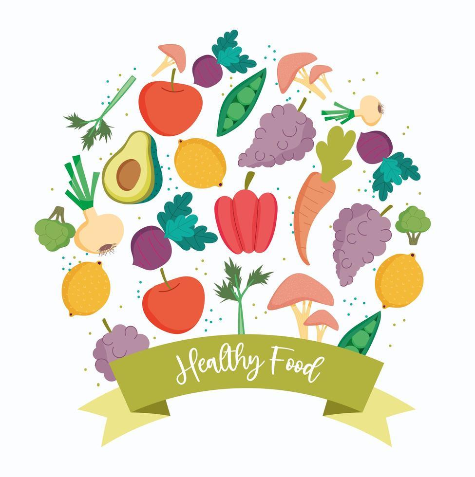 Iconos de productos de alimentos frescos saludables con una pancarta vector
