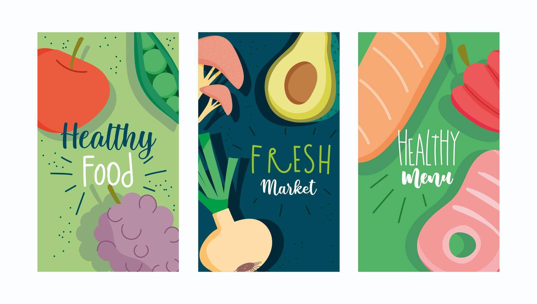 alimentos frescos saudáveis, conjunto de modelo de folheto de menu vetor