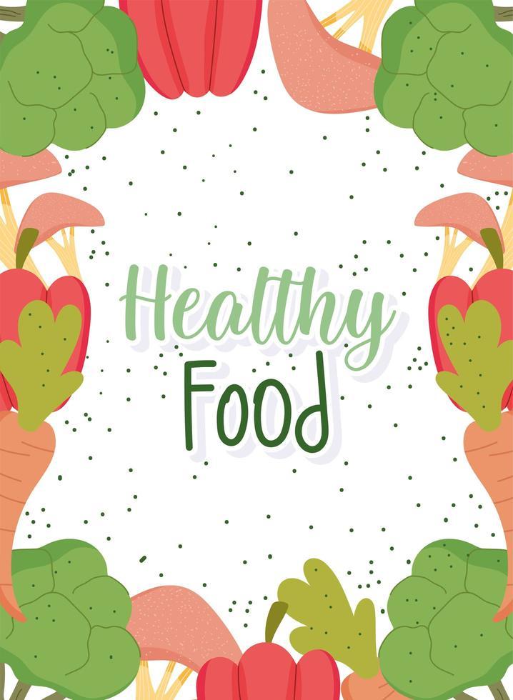 Plantilla de comida sana con banner de marco de productos vector
