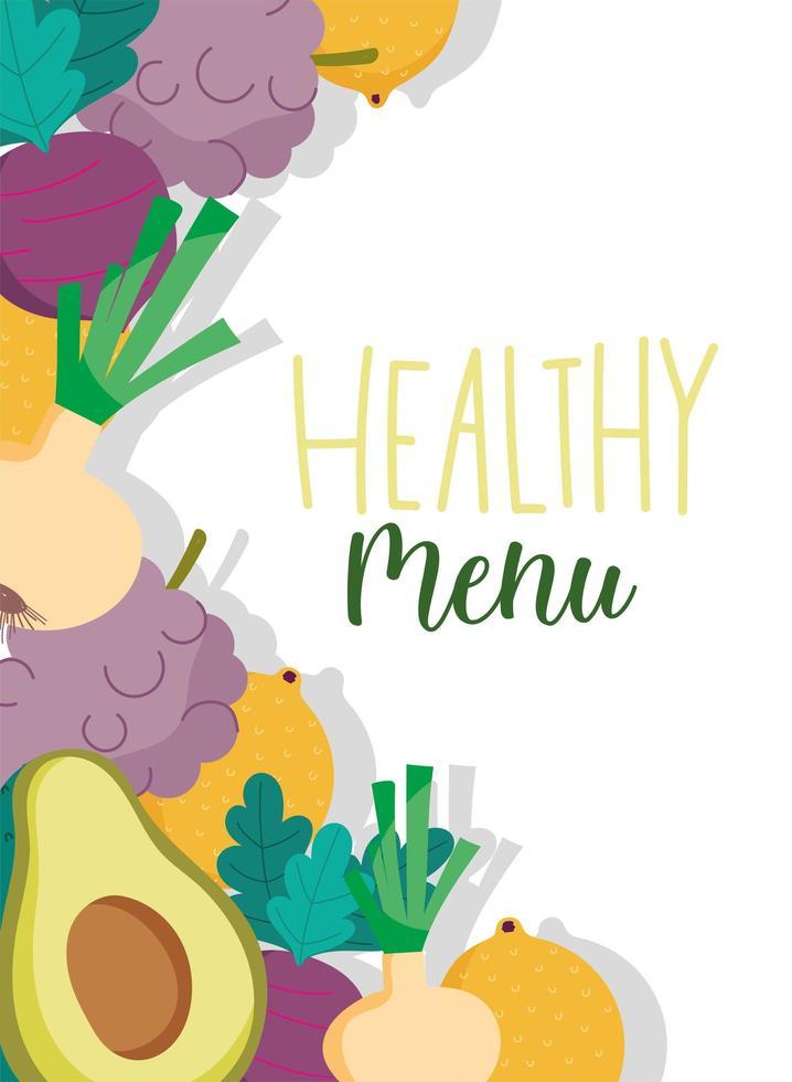 menu saudável do restaurante com banner de fundo de produtos vetor