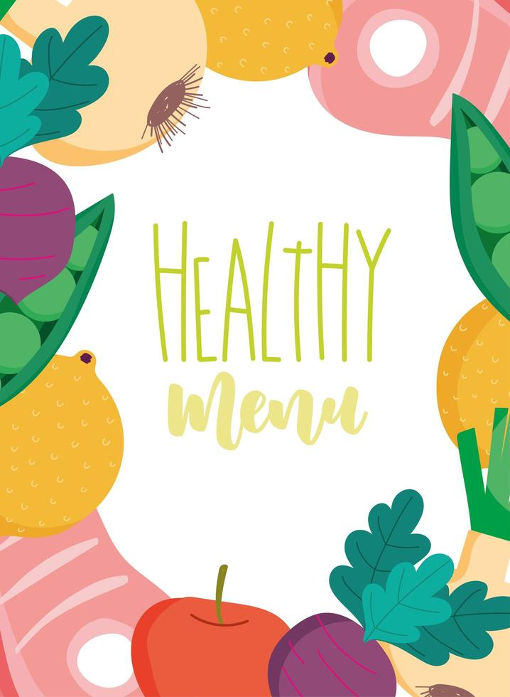 Healthy food and organic produce menu template vector