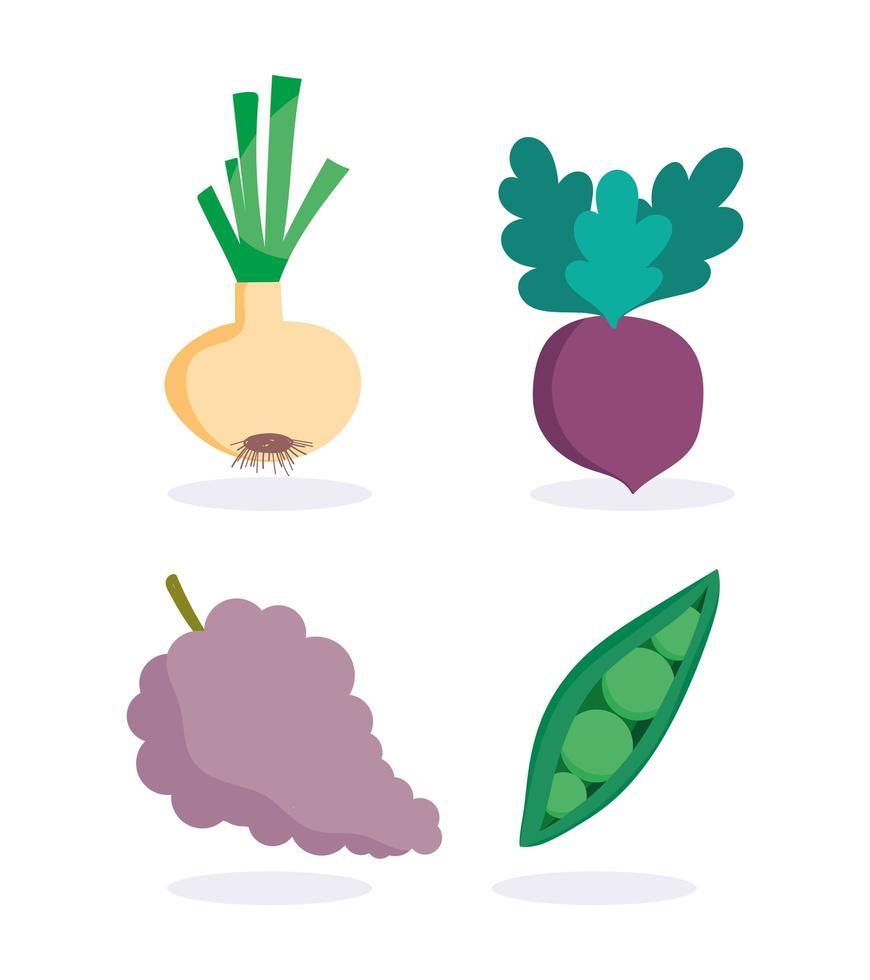 coleção de ícones de frutas e vegetais vetor