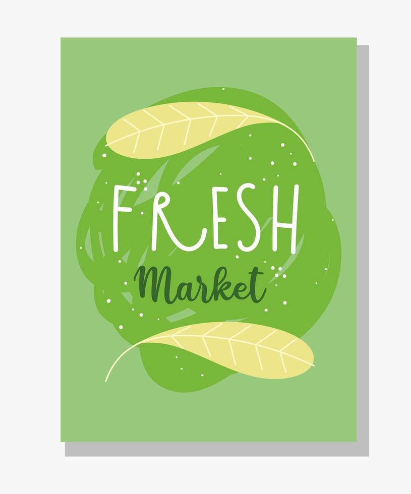 modelo de banner verde com letras de mercado de produtos frescos vetor