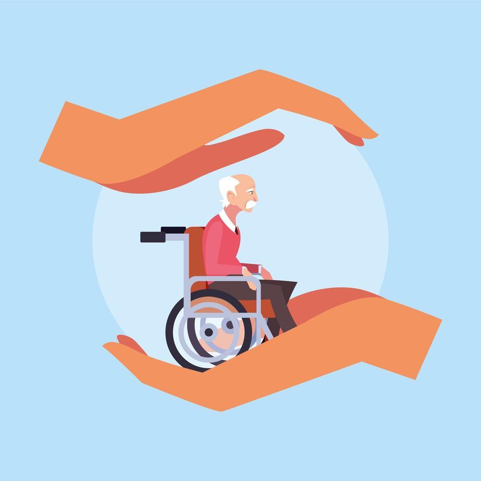 mãos segurando o velho em uma cadeira de rodas vetor