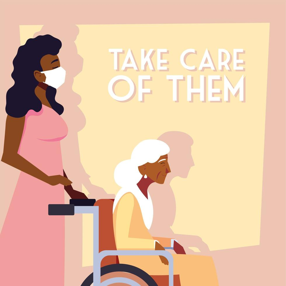 Young woman taking care of old woman vector
