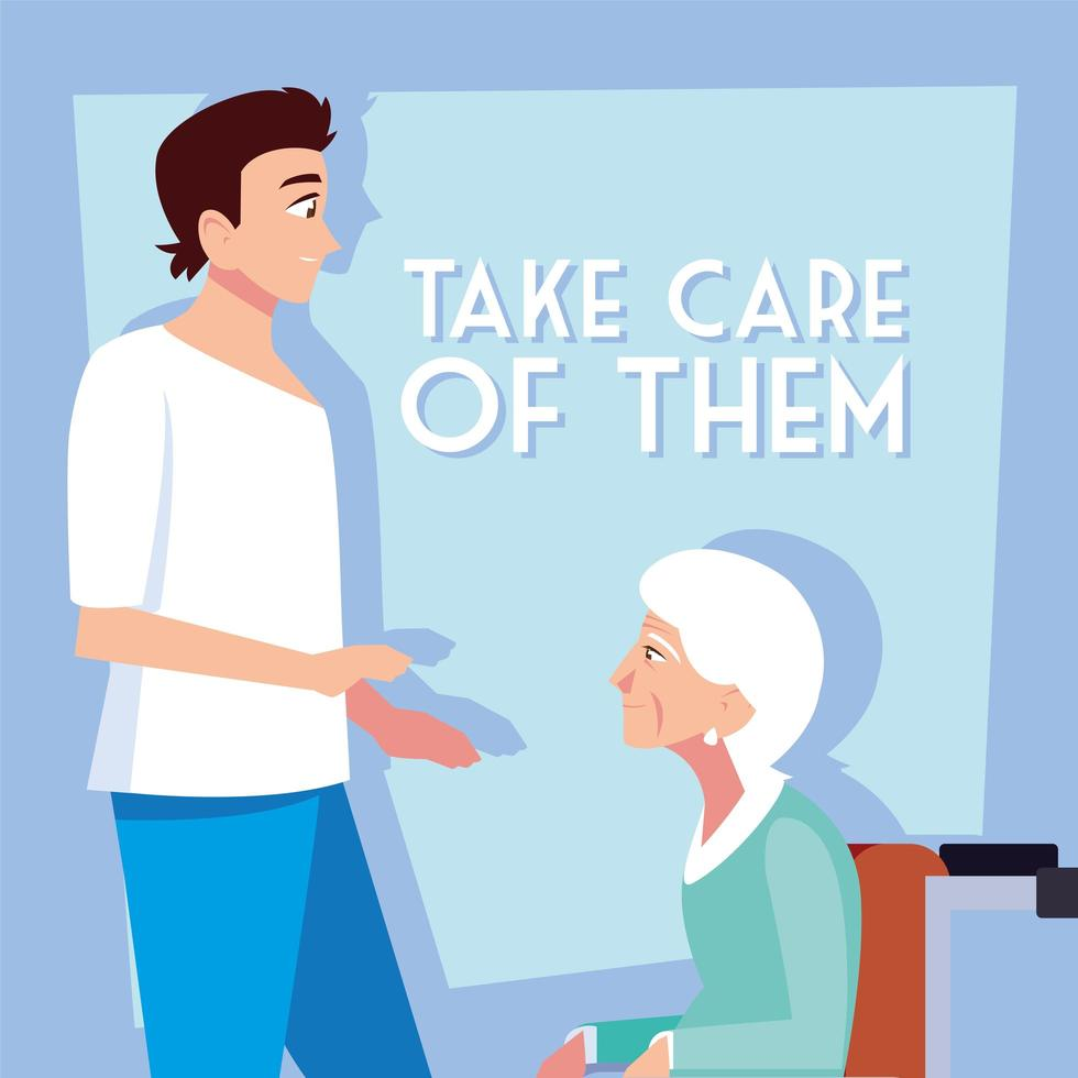 joven cuida a la anciana vector