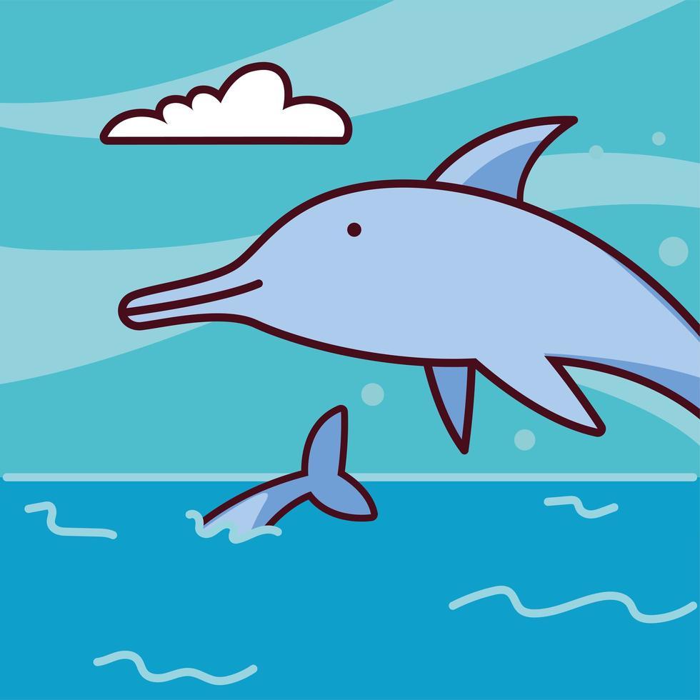 delfines saltando fuera del agua de mar vector