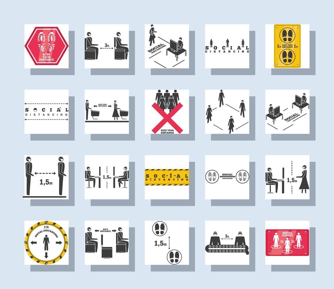 conjunto de ícones quadrados de distanciamento social vetor