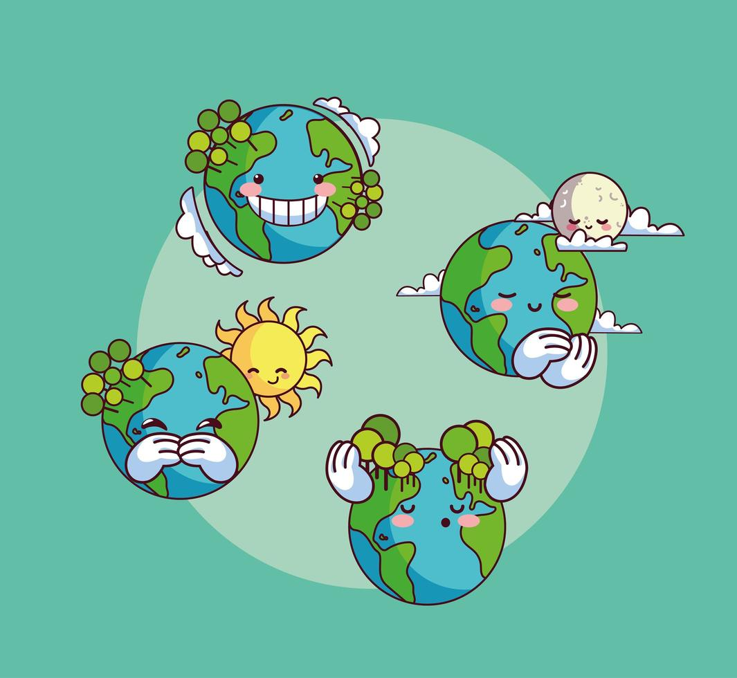 Set of icons of smiling kawaii planet earth  vector