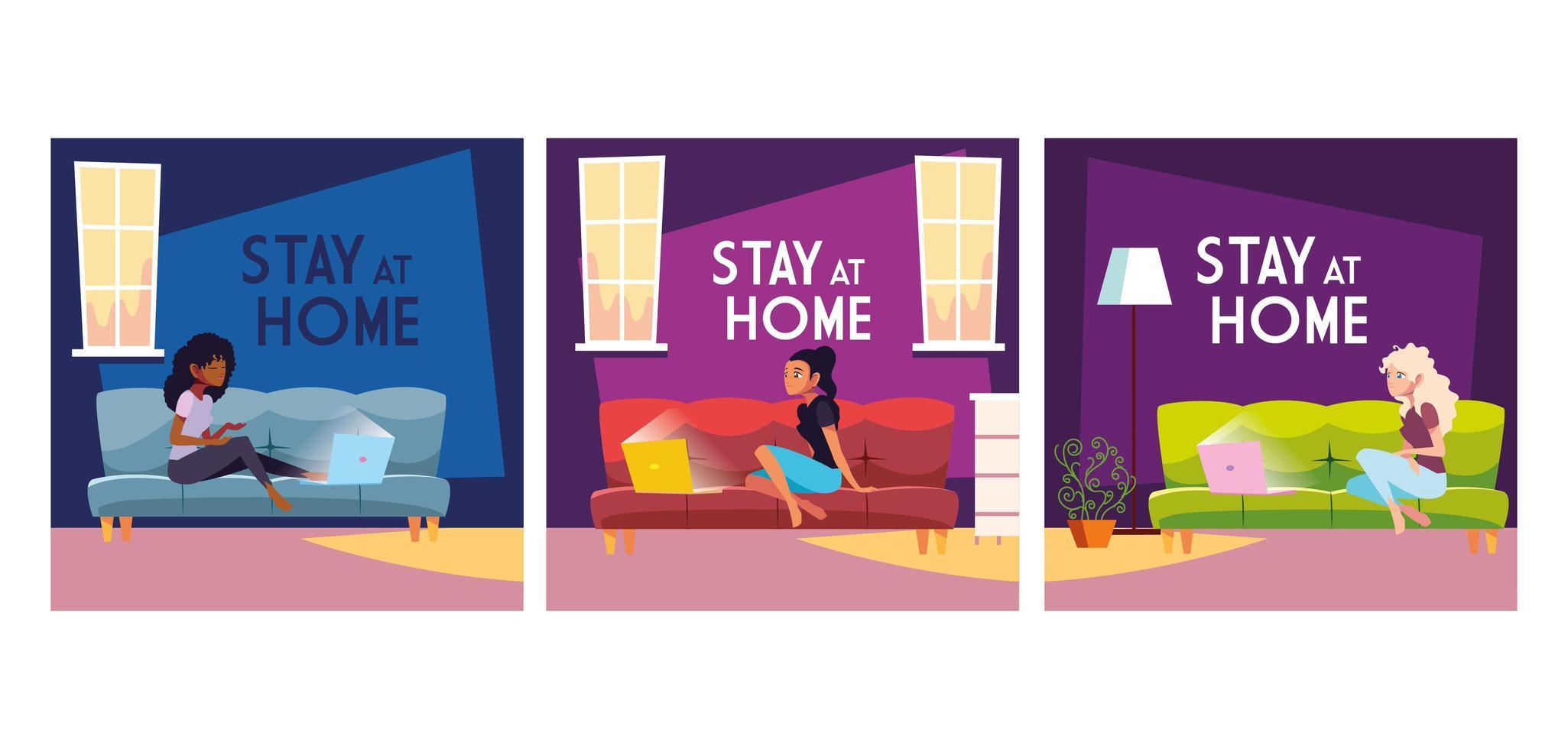 Tarjetas con letras para quedarse en casa con mujeres sentadas en el sofá. vector